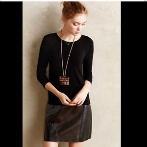 Anthropologie Mixed Media Faux Leather Dress